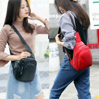 Womens Men Genuine Leather Sling Bags Chest Shoulder Crossbody Bag Pack Backpack