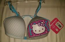 HELLO KITTY Sanrio Bra Racerback Front Closure Womens Size 32A Blue White Grey.