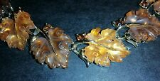 Beautiful Vtg Lisner Poured Frosted Lucite Thermoset Oak Maple Leaf Necklace
