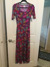 NWT Lularoe Ana Maxi Dress Size XS Purple Floral Abstract Pattern