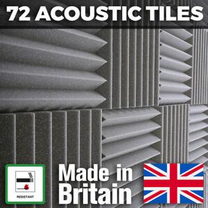 72 x Grey Thick Acoustic Foam Tiles - 300mm Studio Sound Proofing Foam Treatment