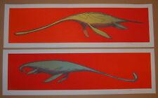 Jay Ryan Dinosaur Elasmosaurus Diptych Set of Art Prints S/N 2009