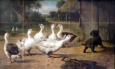 Art Farm Goose Puppy Mural Ceramic Backsplash Bath Tile #2167