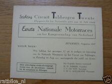 1947 UITNODIGING CIRCUIT VAN TUBBERGEN ZATERDAG 16-8-1947