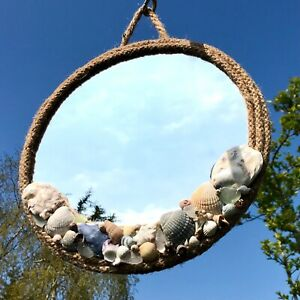 New Rustic Glass Round Mirror with Rope and Sea Shells ~ Hand Made ~ Beach Theme