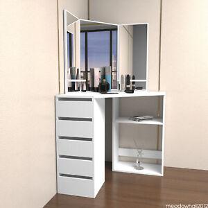 Corner Dressing Table Makeup Desk Three Mirror Drawer Stool Bedroom White