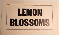 Lemon Blossoms Original Unused Vintage 1960's Cardboard Advertising Sign