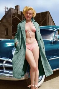 POSTCARD Print / Marilyn Monroe and car, 1954