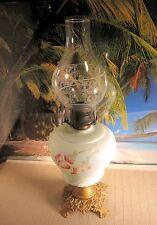 ANTIQUE KEROSENE OIL LAMP FLOWERS ON WHITE MILK GLASS METAL BASE WITH CHIMNEY