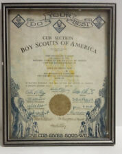 1932 CUB SCOUTS Elements of Cub Leadership 1 Training Certificate--Framed!