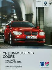 BMW 3 SERIES COUPE CAR PRICE BROCHURE 2012 LONDON OLYMPICS