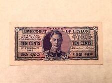 ~ British Ceylon 1942 George VI Ten 10 Cents P 43a