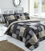 Black And Gold Remi Floral Damask Patchwork Double Bed Duvet Cover Set