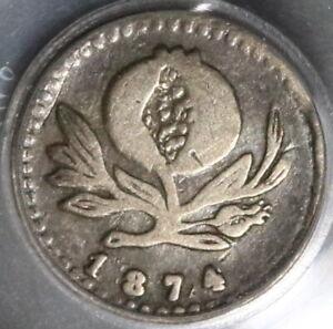 1874 PCGS VF 35 Colombia 1/4 Decimo Rare Medellin Mint Silver Coin (20032302C)