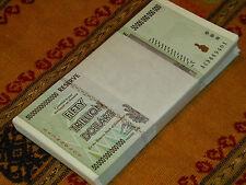 lot of 3, Zimbabwe 50 Trillion Dollar notes, 2008 AA, 100 Trillion Series uncirc