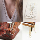 Hot Womens Simple Clavicle Necklace Chain Round Charm Circle Pendant