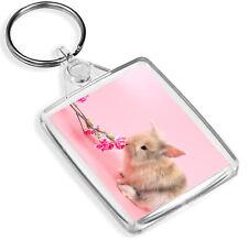 Cute Baby Rabbit Keyring - IP02 - Pink Flowers Bunnies Bunny Pet Gift #14327