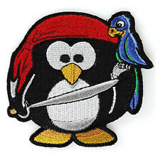 Embroidered Cute Pirate Penguin With Parrot Kids Sew or Iron on Patch
