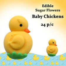 Edible Sugar Flowers 24 Baby Chickens Cakes Cupcake Decorations Toppers Flowers