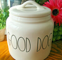 "New Rae Dunn ""GOOD DOG"" Farmhouse Large Letter Dog Treat Ceramic Canister"