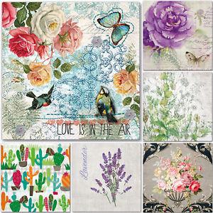5x Single Paper Table Napkins for Decoupage * LOVE * LAVENDER * FLOWERS * CACTUS