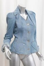 CHRISTIAN DIOR BOUTIQUE Womens VINTAGE Blue Denim Heart Blazer Jacket US 6/FR 38