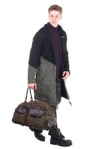 RRP €990 CAMPOMAGGI Travel Bag HANDMADE Contrast Leather Telescopic Handle