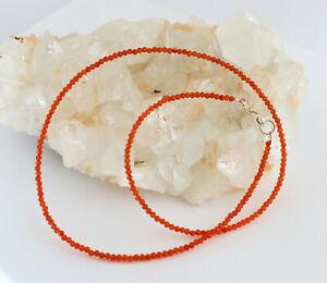 Carnelian Necklace Precious Stone Fein-Geschliffen Orange Ball Ladies 45 CM