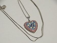 Stefani St. Jaques 925 Chain Necklace Art Glass Heart Pendant 8.85 Gr/ 20 3/8""