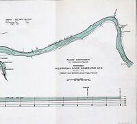 1910 Allegheny River Reservoir Map Pennsylvania Middletown Hickory ORIGINAL