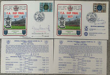 More details for 2 x liverpool v manchester united 1977 first day cover signed by j & b greenhoff