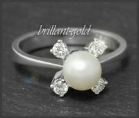 Diamant & Perlen Ring aus 750 Gold, 0,22ct Brillanten in River D, Weißgold