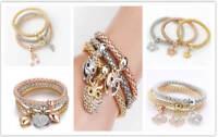 3Pcs Women Fashion Gold Silver Rose Gold Bracelets Set Rhinestone Bangle Jewelry