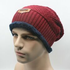 Men Winter Knitted Crochet Ski Beanie Hat Knitting Warm Thermal Lining Knit Cap