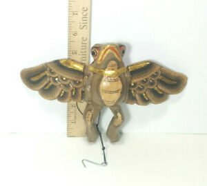 """Flying Frog (Brown) Hanging Mobile, 6.5"""" Length, Hand Crafted, Made in Bali, NEW"""