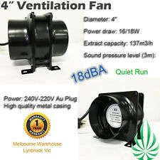 "HYDROPONIC 4""/100MM INLINE EXHAUST FAN SILENT VENTILATION DUCT BLOWER VENT FAN"