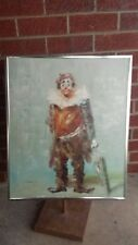 Vintage Mid Century 60's Signed F. Dressen Framed Clown w/ umbrella Oil Painting