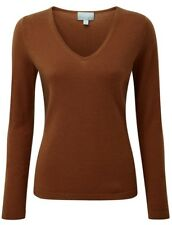 Lana Cashmere Collo V Maglione Donna Pure Collection Taglia 8 Bronzo Brown