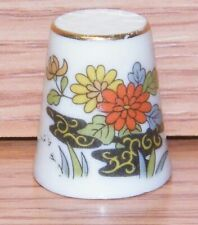 Unbranded Orange Yellow Blue Flower Ceramic Collectible Souvenir Thimble!