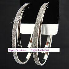 Frosted double loop Hoop Earrings