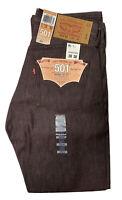 NWT Levi's 501XX Straight Leg Button Fly Jeans Mens 30 X 30 Brown Rigid Denim