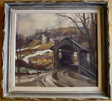 EMILE GRUPPE LISTED COVERED BRIDGE MA VT NEW ENGLAND OIL IMPRESSIONIST PLEIN AIR