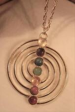Large Shiny Spiral Coil Chakra Natural Stones Healing Prayer Goldtone Necklace