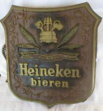 """Vintage Heineken bieren Beer Sign Wall Hanging Shield Plaque 16"""" x 17.5"""""""