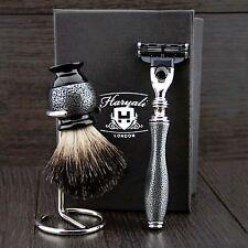 Micro-Antico 3 PZ Uomo Set da barba (Gillette MACH 3 Rasoio, Badger Pennello & Supporto)