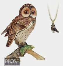 Secrets from Hidden Treasures TAWNY OWL Pewter Trinket Box & Pendant (1038) NEW