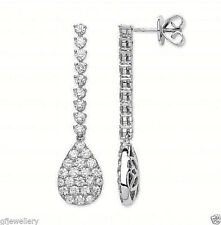 18CT HALLMARKED WHITE GOLD 2.43CT G SI1 DIAMOND PAVE SET TEARDROP DROP EARRINGS