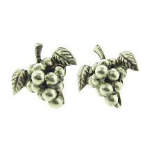 """Earrings Clip On 1"""" Vintage Mexican Sterling Silver Grapes"""