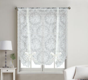 Country Farmhouse Shabby Chic Floral Lace Tie Up Curtain Shade - Assorted Colors