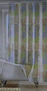 Bayside Ocean Tropical Blue Green Brown Medallion Fabric Shower Curtain 70x72